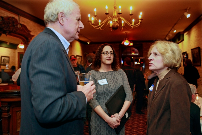 Milwaukee Mayor Tom Barrett and his communications director, Jodie Tabak, talk with Sue Walker at Buck Bradley's. Credit: Angela Peterson