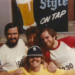 Don Walker (right) with Frank Clines (left), Marilyn Hagelberg and Mike Juley at Al's Run in September 1980. Credit: Mike Juley